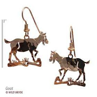 goat earrings gold french curve jewelry