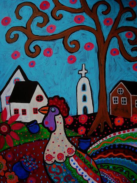 Modern Folk Artist Pristine Cartera-turkus Mexican Art Rooster Painting