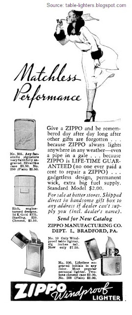 Table lighters collectors' guide: Advert: Zippo Matchless
