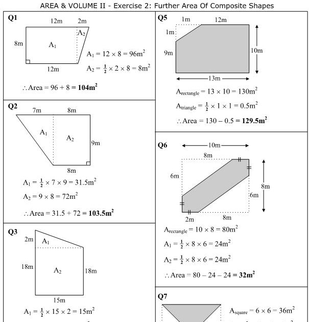 MathsOnline Answers: Further Area Of Composite Shapes