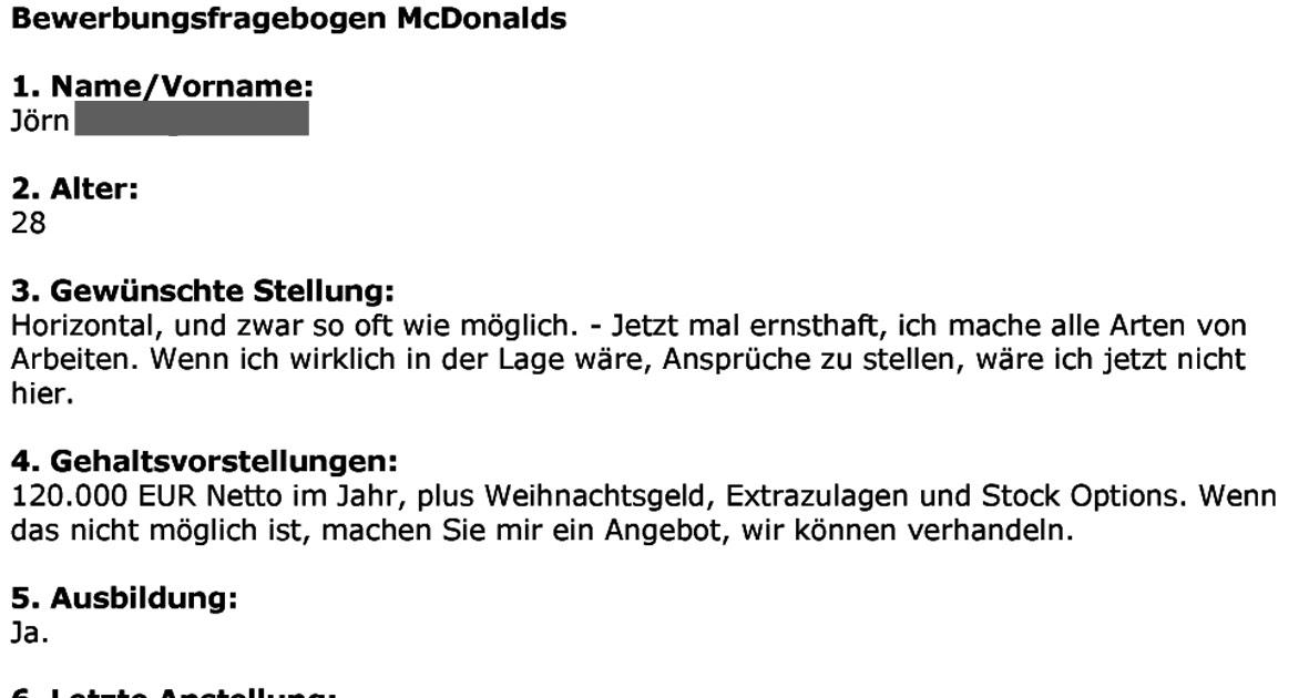 Mcdonalds Bewerbungsbogen