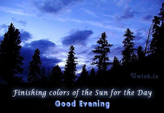 Good Evening  E greeting cards and wishes with evening sky colors.