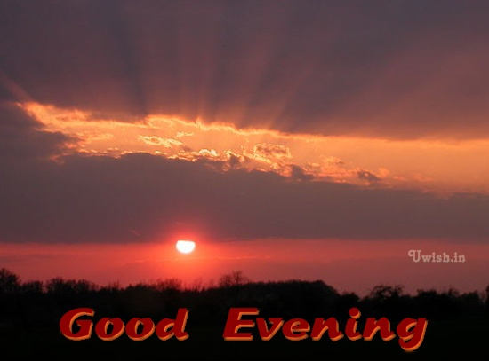 Good Evening E greetings cards and wishes with red sunset.