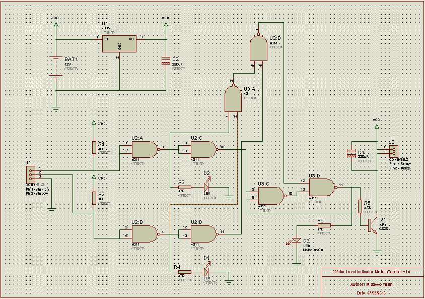Water level indicator automatic motor control electronicbeans 1 circuit diagram for water level indicator motor control click to enlarge ccuart Choice Image