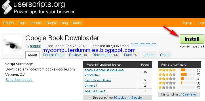 How to install Google's book userscript downloader in firefox to