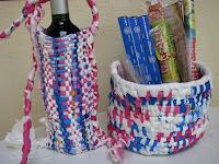 woven plastic bag baskets