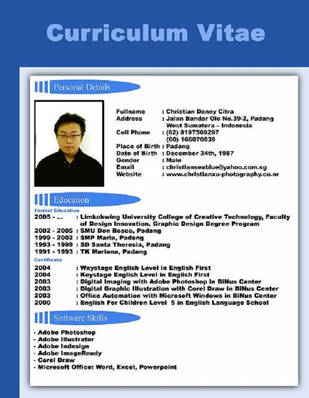 Contoh CV / resume / daftar riwayat hidup/ Job Application Sample