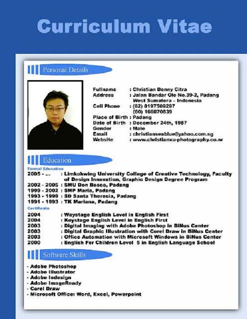 Contoh Format Curriculum Vitae Dalam Bahasa Inggris