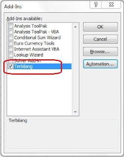 Membuat Teks Terbilang di Microsft Excel 2007
