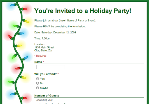 rsvp template for event - google drive blog template spotlight party rsvp form