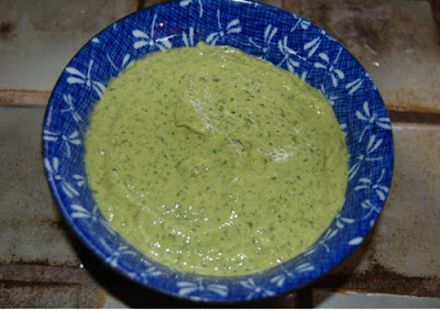 A bowl of my homemade green goddess - it tastes better than it looks...