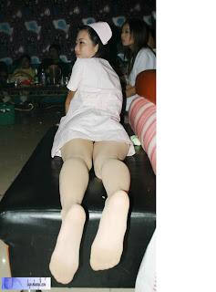 Nurse uniform white pantyhose