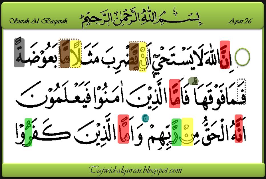 Mari Belajar Tajwid Alquran Surah Al Baqarah Ayat 26