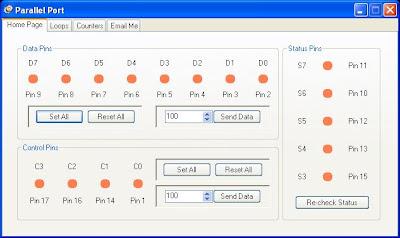 Jaspreet's Code Zone: Parallel Port User Control