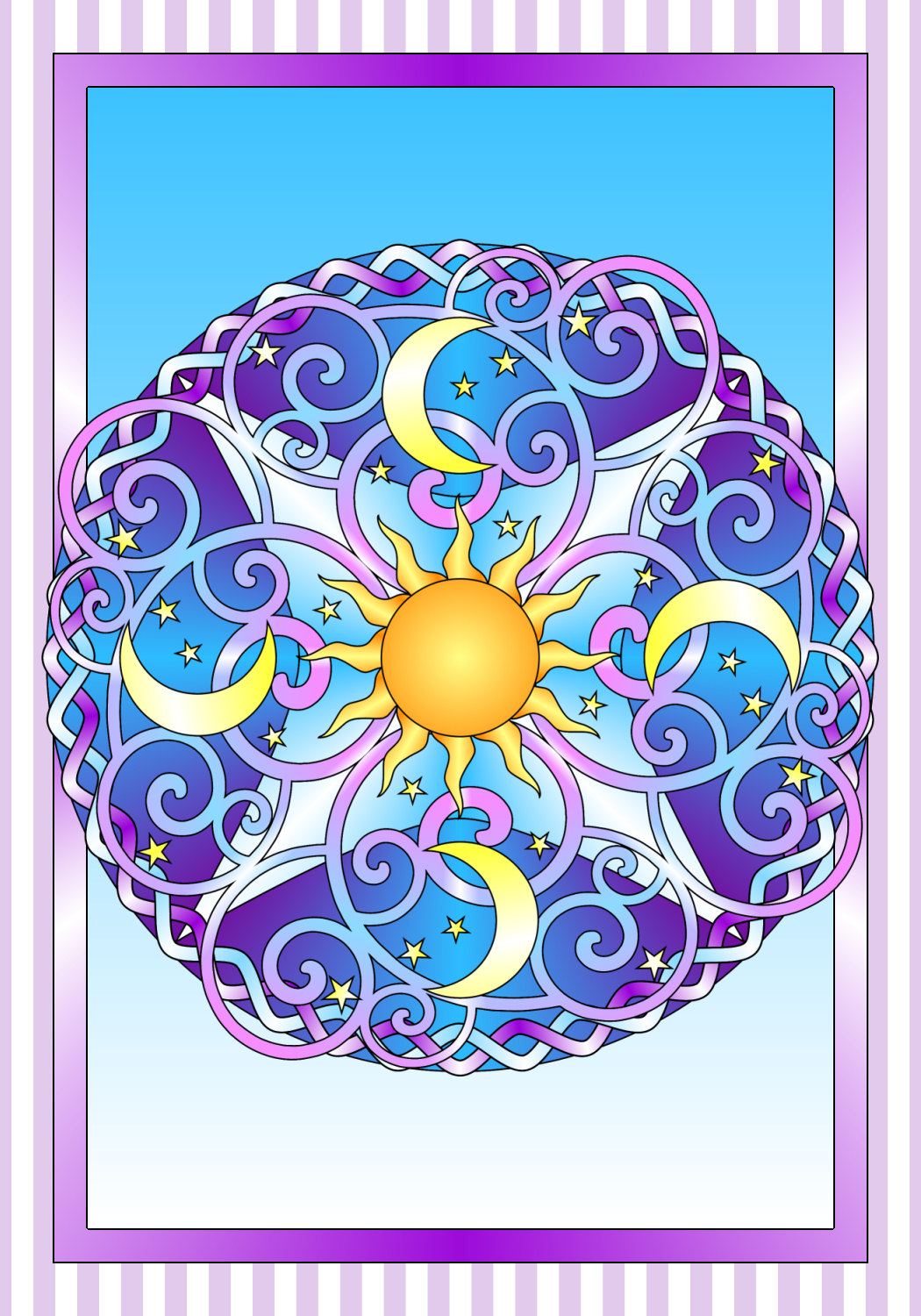Colored Sun Moon And Stars Coloring Page Creation Coloring Pages
