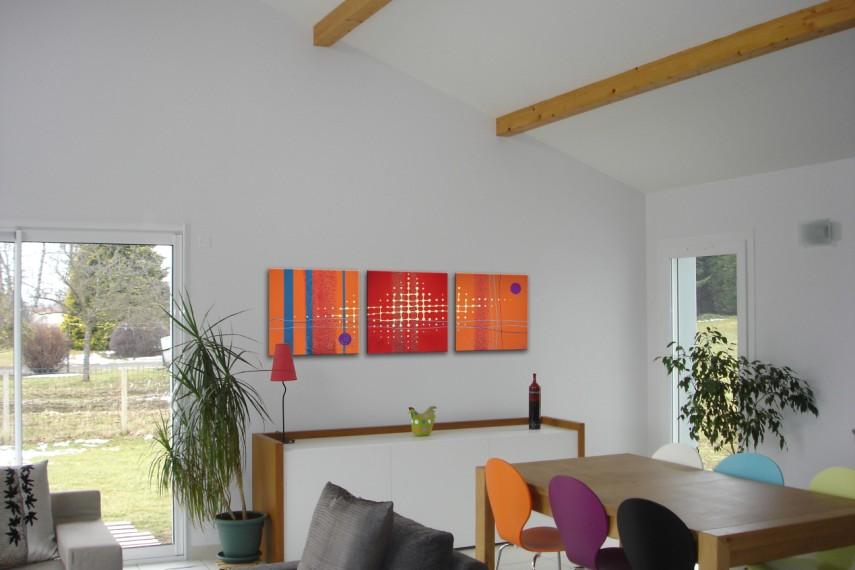 tableau contemporain par clo v tableau moderne design rouge et orange n 34. Black Bedroom Furniture Sets. Home Design Ideas
