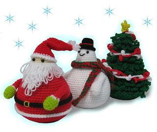 Santa Claus and Snowman, Amigurumi pattern on Etsy.com
