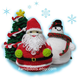 Amigurumi Christmas pattern with Snowman and Santa Claus. Click here to see all patterns on kandjdolls.etsy.com