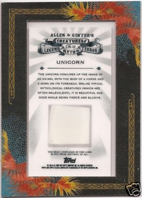 2009 Allen & Ginter Unicorn Relic Back