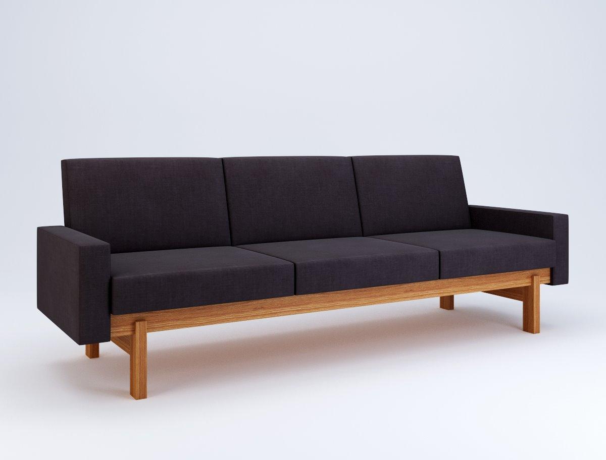 Accent Sofa 3 Cushion Bed Slipcover Swedese Yngve Ekstrom 1959 215 X 72 H 76