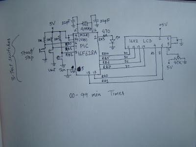 pic16f628 ile 0-99 zamanlayıcı timer devre şeması
