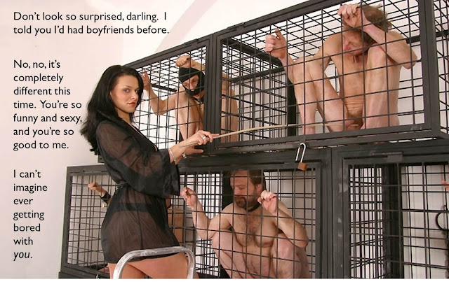 femdom caption dominatrix girlfriend with slaves in cages