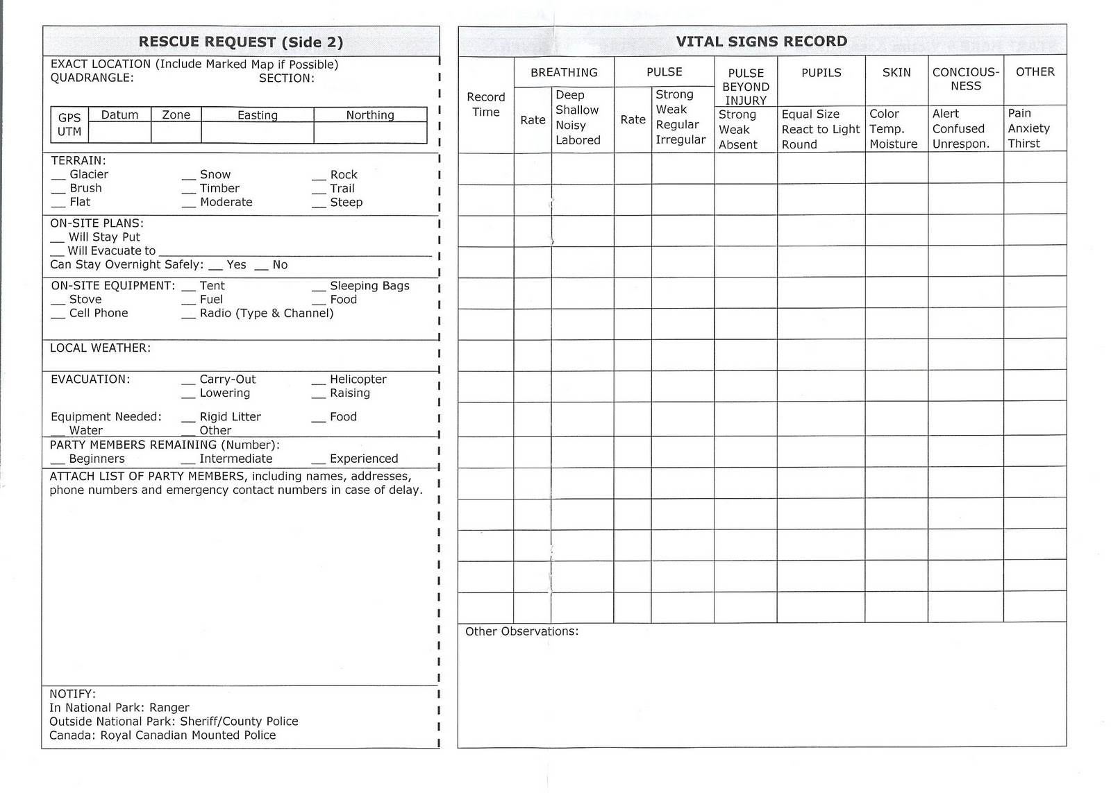 belaying and bandaging first aid forms amp cheat sheets
