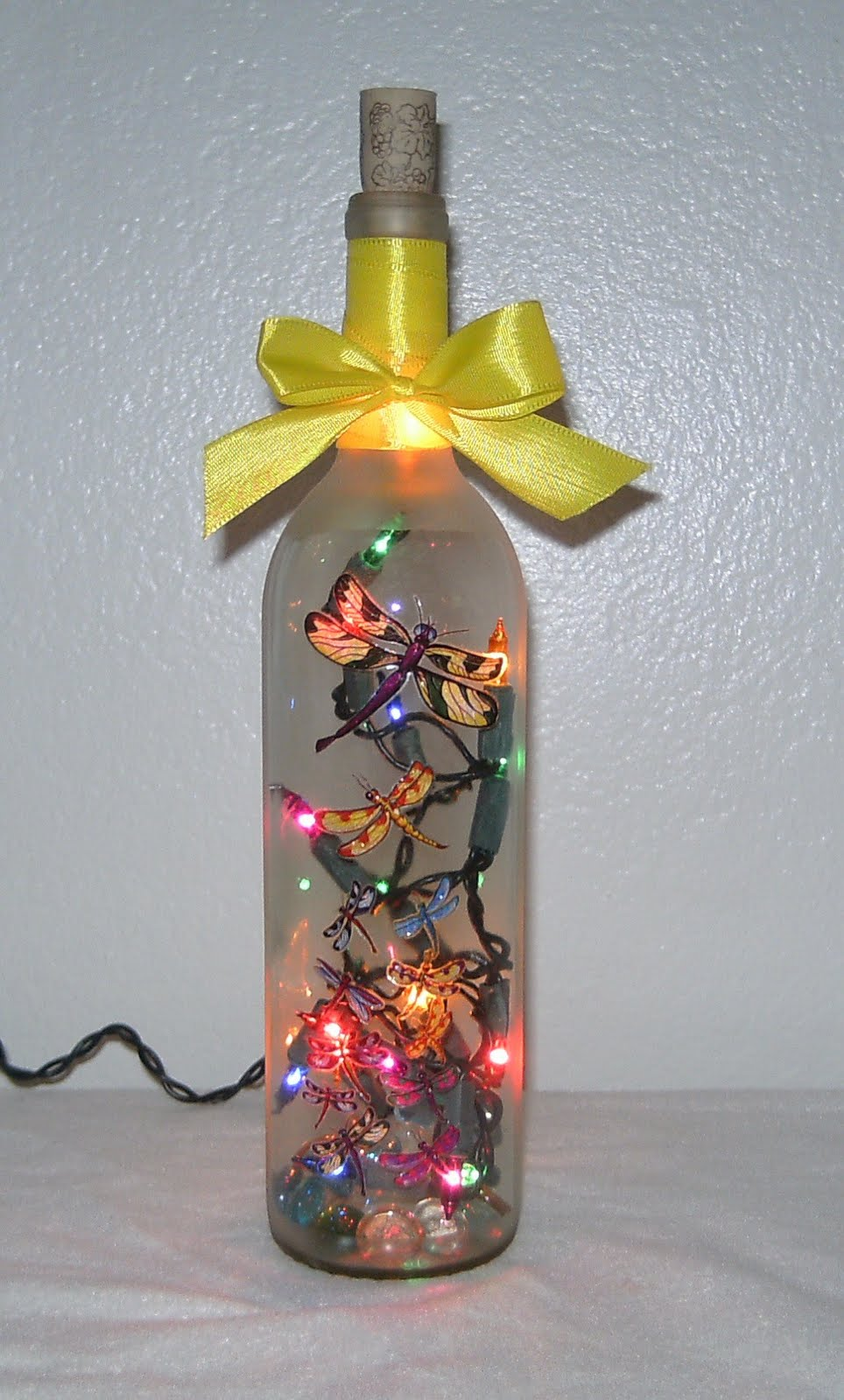 Elegant Wine Bottles Ribbon Lighted Wine Bottle