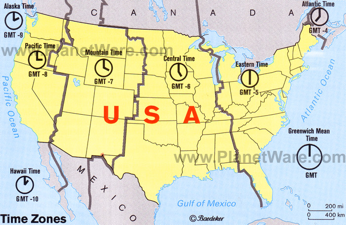 Map Time Zones Us