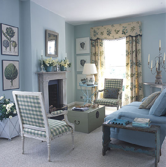 Blue And White Traditional Meets Country Living Room