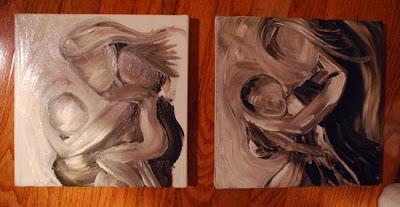 Motherhood Paintings by Katie m. Berggren, in process