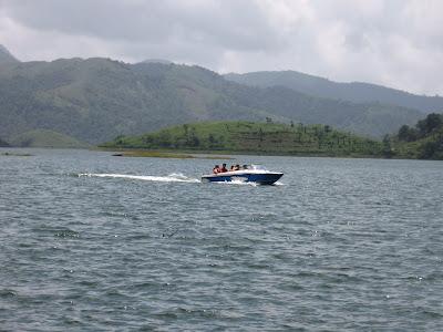 Motor boating at Banasura Sagar Dam, Wayanad