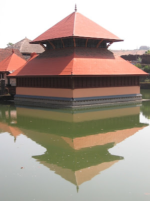 Reflection of the Ananthapura Temple,Kasaragod in the lake
