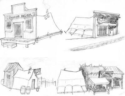 Averyl Veliz: Skagway building and sign sketches