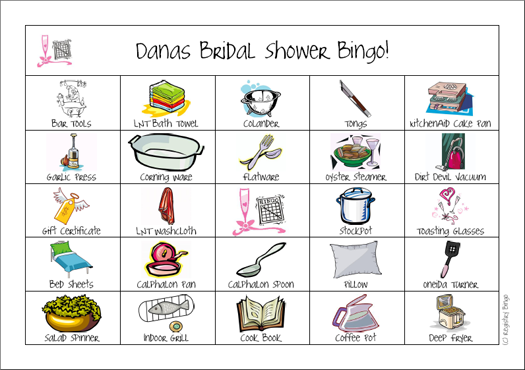 Example of Bridal Shower Bingo