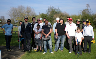 The Minigolfers line-up before the competition at Stratford-upon-Avon