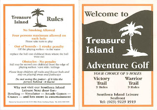 Scorecard from the Treasure Island Adventure Golf course in Southsea