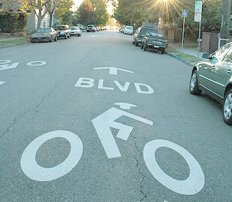 Image of bicycle boulevard pavement marking in Berkeley, California
