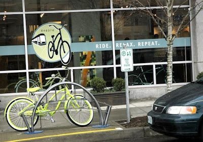 Image of parked bicycle in Portland, Oregon