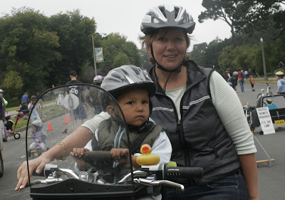 Image of bicycling mother and child in San Francisco's Golden Gate Park