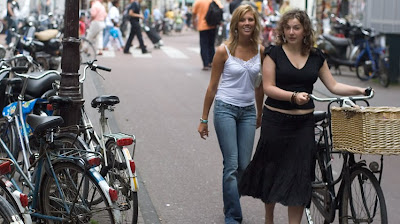 Image of bicyclist and friend in Amsterdam