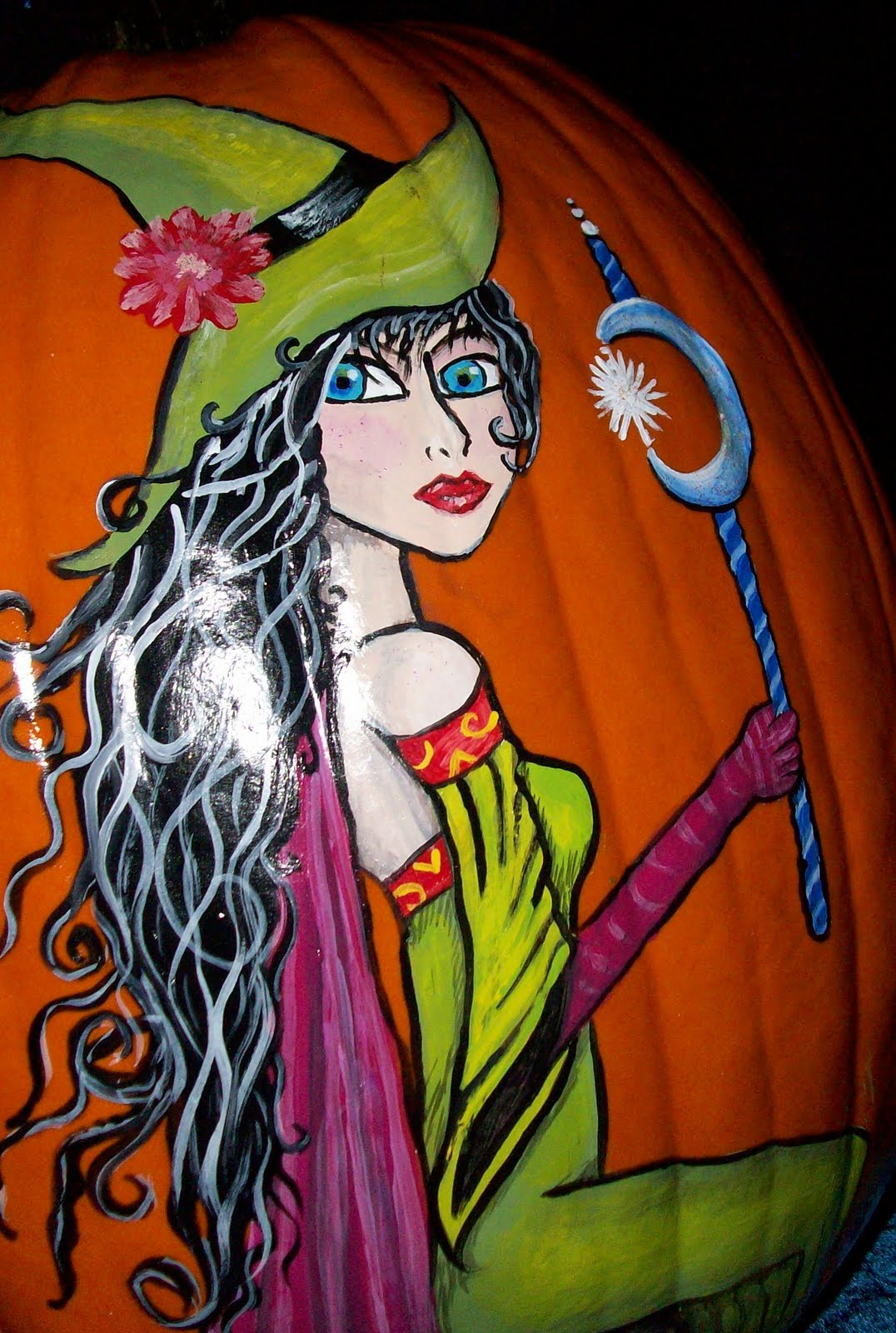 Monica S Painted Pumpkins Green Witch