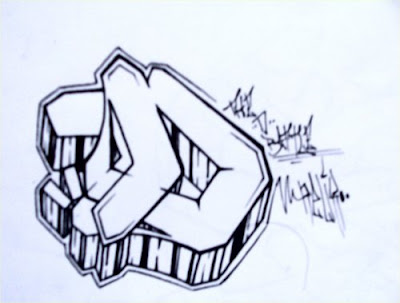 Graffiti Alphabet Letter D Battle Color Black And White Fire 3D Creator