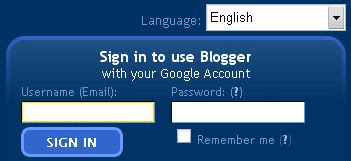 Google Blogger sign in page