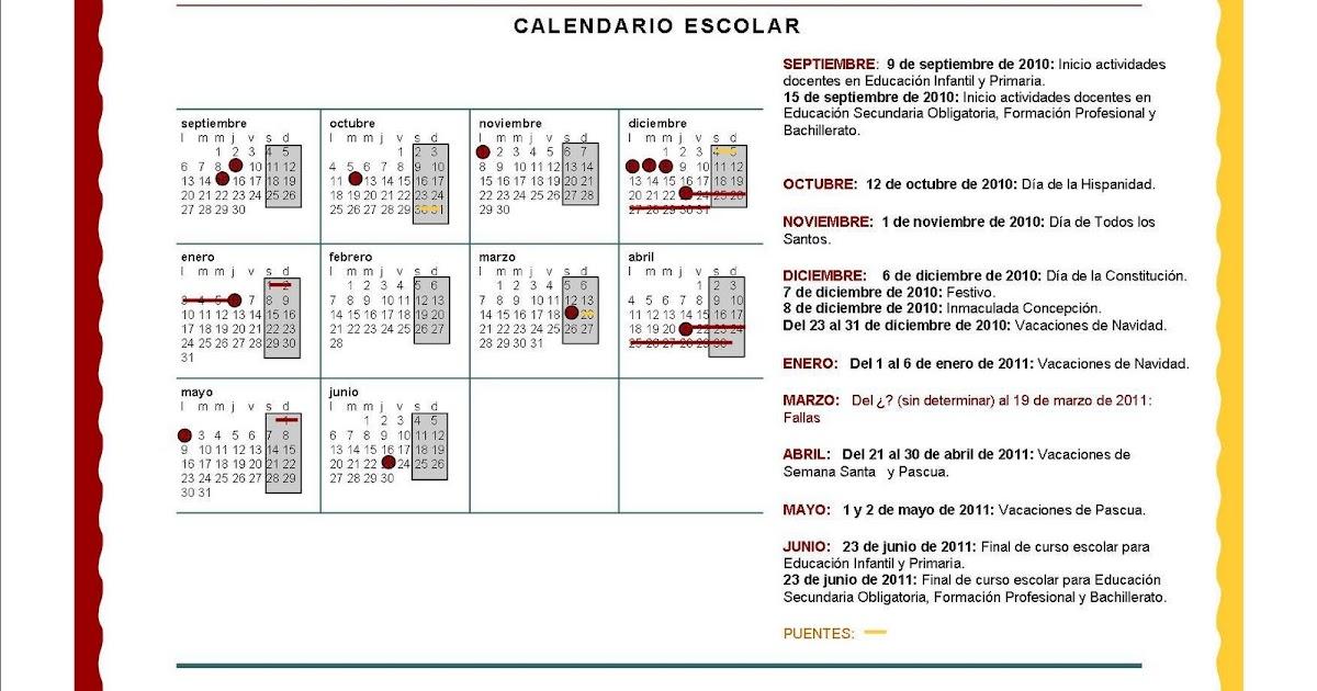 Calendario Escolar Valencia 2020.Acpa La Purisima Valencia Calendario Escolar 2010 11