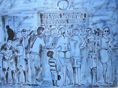 Cena de Botequim, acrílico s/ tela - Obra de Clameli