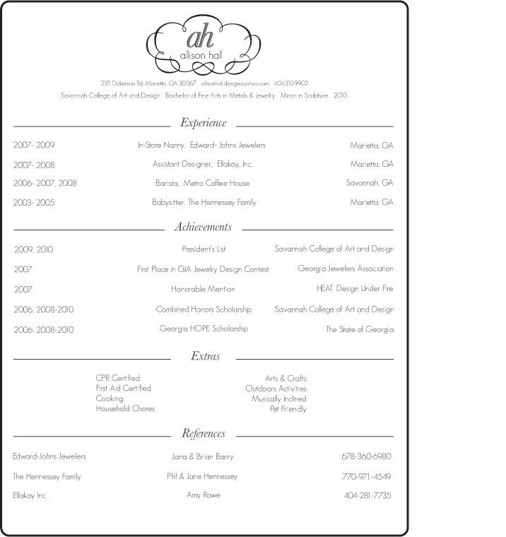 sample resume for nanny