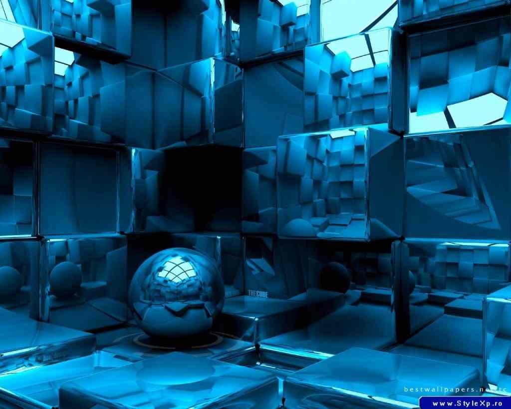 Free Desktop High Definition Wallpapers - Love Your Desktop: 3D Blue Blocks And Ball Wallpaper