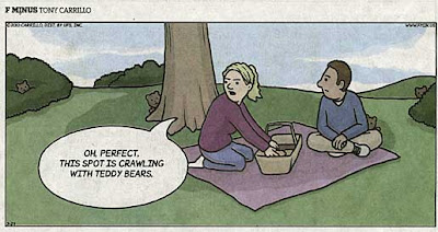 F Minus cartoon of two people at a picnic, with little bears peeking out at them