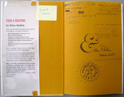 End papers of Figg's and Phantoms, signed &llen Raskin with the fancy ampersand used in the cover typography, which looks like an E